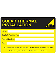 Solar Thermal Installation Labels 100x65mm