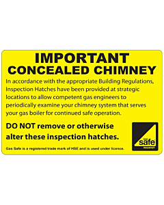 Important Concealed Chimney Labels 100x65mm