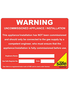 Warning Uncommissioned Appliance Labels 100x75mm