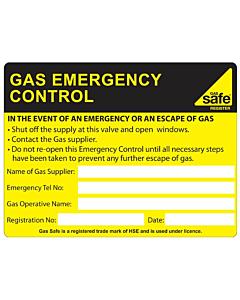 Gas Emergency Control Labels 100x75mm