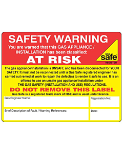 Safety Warning At Risk Labels 100x75mm
