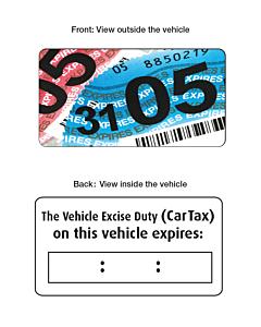 Vehicle Tax Expiry Window Stickers 63x33mm