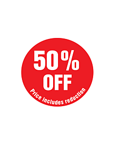 50% Off Price Includes Reduction Stickers