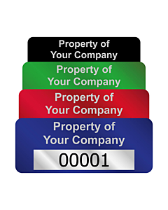 Silver Void Asset Labels Number 50x20mm