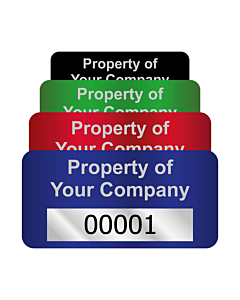 Silver Void Asset Labels Number 50x25mm