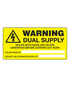 Warning Dual Supply Labels 100x50mm