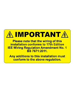 17th Edition BS7671 Wiring Colours Labels 100x50mm