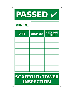 Scaffold Safety Inspection Label 50x80mm