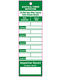 Scaffold Safety Inspection Tags 50x160mm