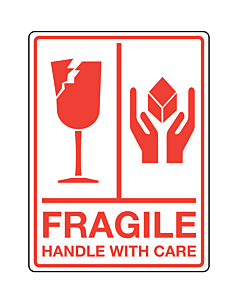 Fragile Handle With Care Labels 75x100mm