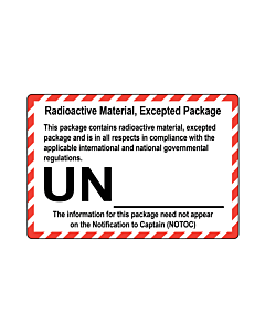 Radioactive Material Excepted Package Labels 110x75mm