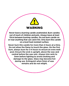 Candle Warning Labels 50mm