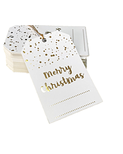 Gold Merry Christmas Gift Tags 55x90mm