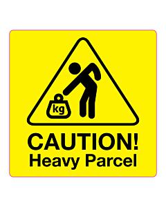 Caution Heavy Parcel Labels 100x100mm