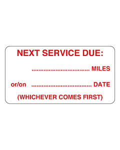 Next Service Due Labels 63x33mm