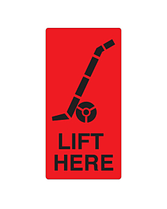 Lift Here Labels 75x150mm