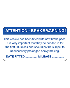 New Brake Pads Labels 63x33mm