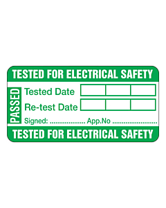 Tested For Electrical Safety PAT Test Labels 50x25mm