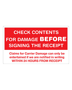 Check Contents Before Signing Labels 140x80mm