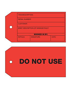 2 Sided Do Not Use Tag (134x67mm)