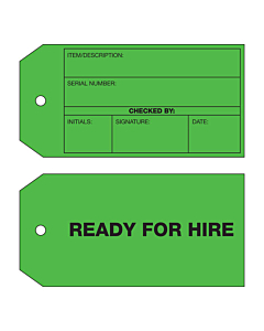 2 Sided Ready For Hire Tag (134x67mm)