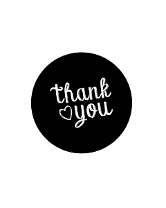 Black Thank You Stickers 40mm