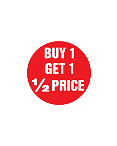 Buy 1 Get 1 1/2 Price Stickers