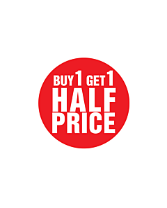 Buy 1 Get 1 Half Price Stickers