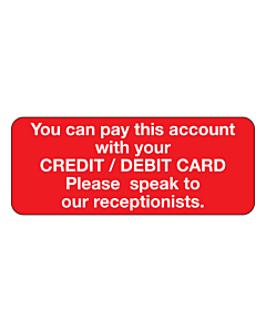 Pay Account With Debit / Credit Card Stickers 50x20mm