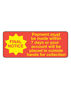 Payment Must Be Made Within 7 Days Label 50x20mm