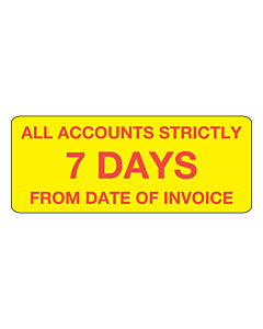 Accounts Strictly 7 Days Stickers 50x20mm