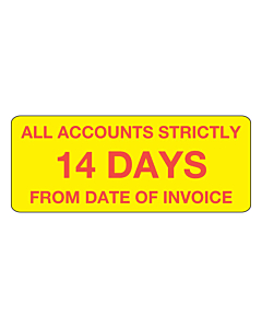 Accounts Strictly 14 Days Stickers 50x20mm