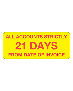 Accounts Strictly 21 Days Stickers 50x20mm