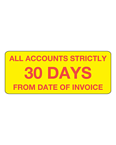 Accounts Strictly 30 Days Stickers 50x20mm