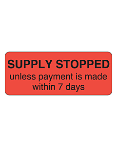 Supply Stopped Label 50x20mm