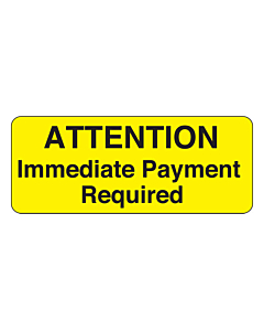 Immediate Payment Required Label 50x20mm
