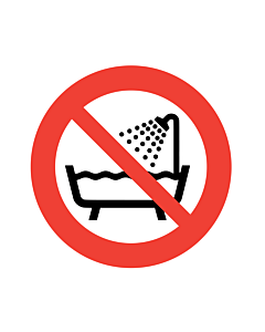 Do Not Use Device in Bathtub, Shower or Water-filled Reservoir Labels