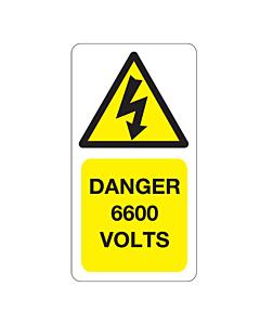6600 Volts Labels 33x63mm
