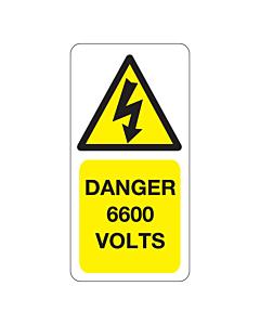 6600 Volts Labels 25x50mm