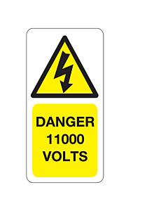11000 Volts Labels 25x50mm
