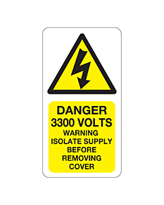 Danger 3300 Volts Isolate Supply Labels 33x63mm