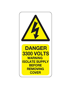 Danger 3300 Volts Isolate Supply Labels 25x50mm