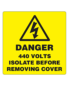 Danger 440 Volts Isolate Supply Labels 50x50mm