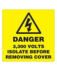 Danger 3300 Volts Isolate Supply Labels 100x100mm