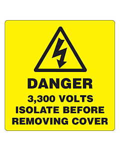 Danger 3300 Volts Isolate Supply Labels 50x50mm