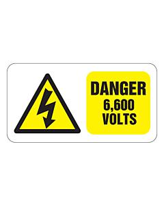 Danger 6600 Volts Labels 63x33mm