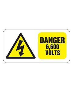 Danger 6600 Volts Labels 50x25mm