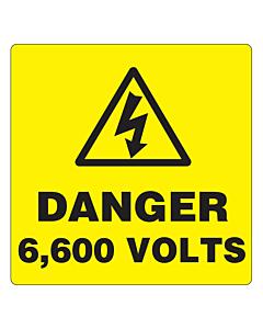 Danger 6600 Volts Labels 50x50mm