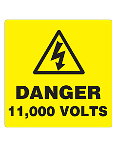 Danger 11000 Volts Labels 100x100mm