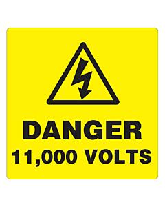 Danger 11000 Volts Labels 50x50mm